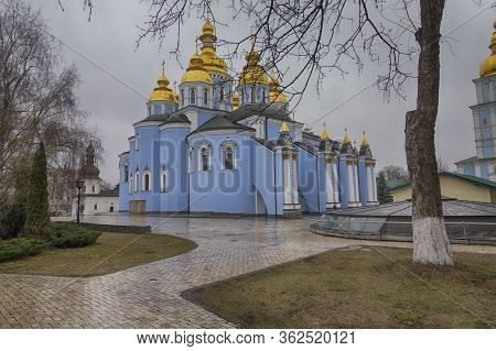 Kiev, Ukraine - January  31, 2020: View Of The St. Michaels Golden-domed Monastery With Cathedral An