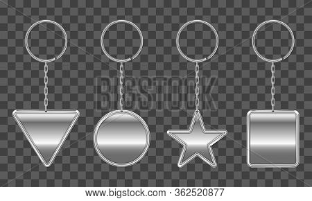 Silver Keychain, Holder Trinket For Key With Metal Chain And Ring. Vector Realistic Template Of Stee