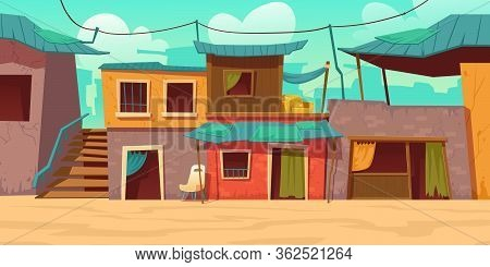 Ghetto Street With Poor Dirty Houses. Vector Cartoon Illustration Of Slum, Neighborhood With Old Bro