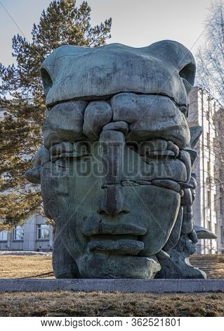 Krasnoyarsk, Russia - April 1, 2020: Face Is A Fragment Sculpture 'transformation' In Krasnoyarsk. B