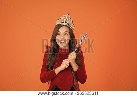 Fantasy And Creativity. Develop Imagination. Magic Trick. Magic Stick Concept. Cute Kid Doing Magic.