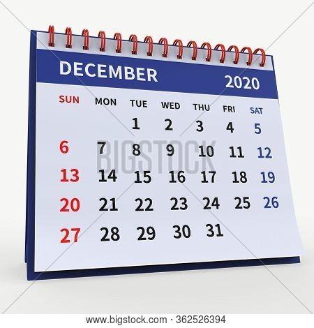 Standing Desk Calendar December 2020. Business Monthly Calendar With Red Spiral Bound, Week Starts O