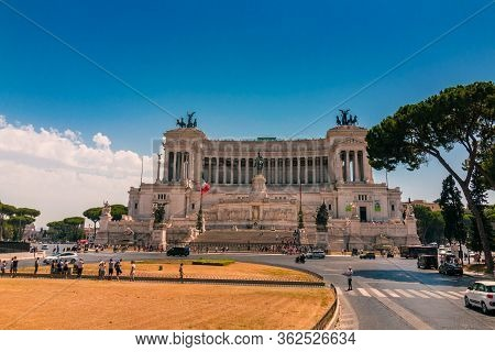 Rome, Italy - August 09, 2017: Altare Della Patria And Monument To Victor Emmanuel, The First King O