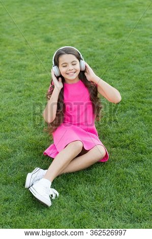 My Summer Playlist. Listen Music While Relaxing Outdoors. Educational Podcast. Kid Girl Enjoy Music