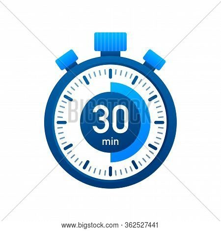 The 30 Minutes, Stopwatch Vector Icon. Stopwatch Icon In Flat Style, Timer On On Color Background. V