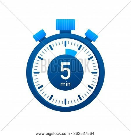 The 5 Minutes, Stopwatch Vector Icon. Stopwatch Icon In Flat Style, Timer On On Color Background. Ve