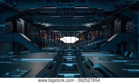 3d futuristic space facility corridor
