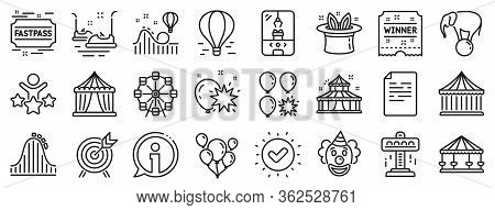 Set Of Carousel, Roller Coaster And Circus Icons. Amusement Park Line Icons. Air Balloon, Crane Claw