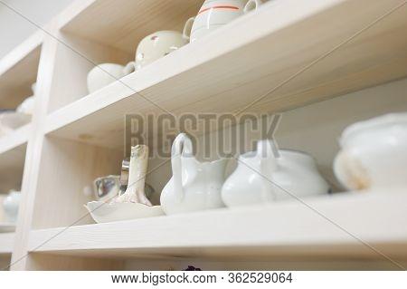 Kitchen Shelf With Utensils. Place For Kitchen Utensils