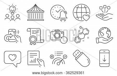 Set Of Technology Icons, Such As Usb Stick, Scroll Down. Diploma, Ideas, Save Planet. Share Call, Co