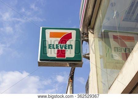 Cebu, Philippines - September 29, 2018: Store Logo '7 Eleven'. Signboard Shop. Seven-eleven Is An In