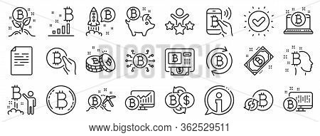 Set Of Blockchain, Crypto Ico Start Up And Bitcoin Icons. Cryptocurrency Line Icons. Mining, Cryptoc