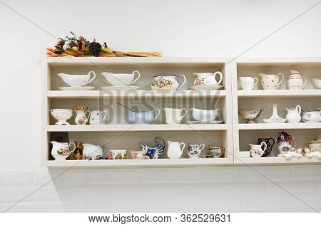 Kitchen Utensils On The Shelves. Place For Kitchen Utensils.