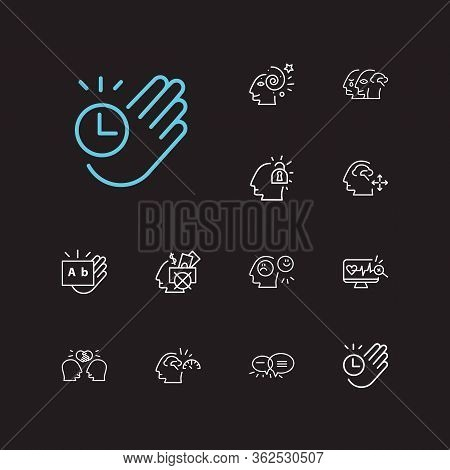 Psychology Icons Set. Health Monitoring And Psychology Icons With Unlocking Mind, Emotional Intellig
