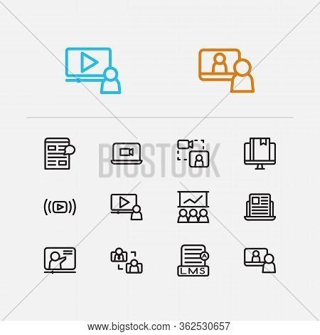 Webinar Icons Set. Education E-learning And Webinar Icons With Video Stream, Video Webinar And Conte