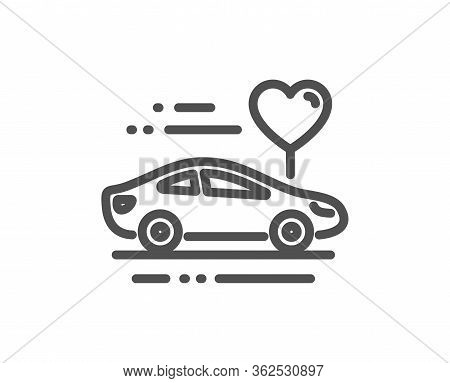 Honeymoon Travel Line Icon. Love Car Trip Sign. Valentines Day Transport Symbol. Quality Design Elem
