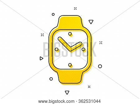 Clock Sign. Digital Time Icon. Smartwatch Symbol. Yellow Circles Pattern. Classic Smartwatch Icon. G
