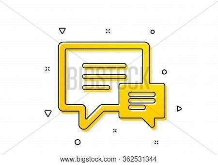 Speech Bubble Sign. Chat Icon. Communication Or Comment Symbol. Yellow Circles Pattern. Classic Comm