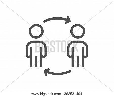 Teamwork Workflow Line Icon. Business Partnership Sign. Job Meeting Symbol. Quality Design Element.