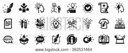 Set Of Design, Idea And Inspiration Linear Icons. Creativity Brush Icons. Imagination, Idea Box And