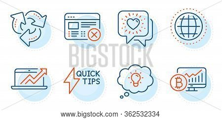 Globe, Energy And Recycle Signs. Bitcoin Chart, Quickstart Guide And Friends Chat Line Icons Set. Sa