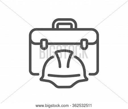 Construction Toolbox Line Icon. Architect Portfolio Sign. Engineer Case Symbol. Quality Design Eleme