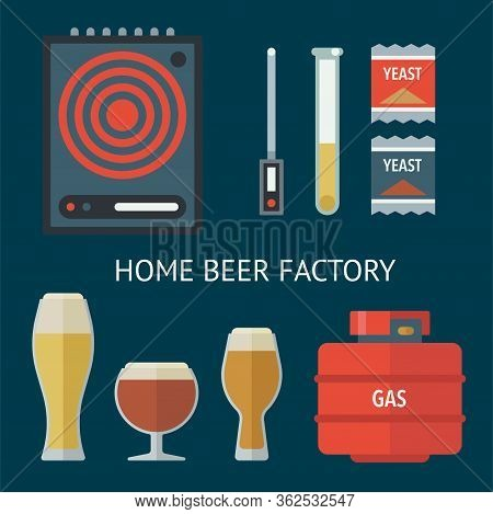 Home Brewing Factory Production Items. All You Need For Brew Home Made Craft Beer. Elements For Home