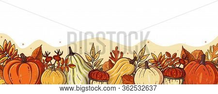Horizontal Vector Banner, Poster, Card Or Frame Design With Orange Pumpkins And Autumn Leaves. Seaso