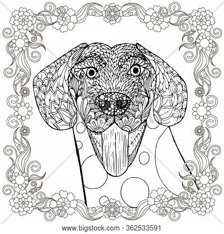 Dog Doodle In Floral Frame. Pop Art Monochrome Pet Hand Drawn Art Design Stock Vector Illustration F