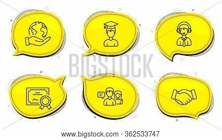 Shipping Support Sign. Diploma Certificate, Save Planet Chat Bubbles. People Talking, Student And Ha
