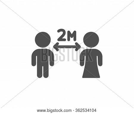 Social Distancing Icon. 2 Meters Distance Between Sign. Coronavirus Pandemic Symbol. Classic Flat St