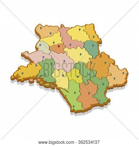 Isometric 3d Map Of The France. Isolated Political Country Map In Perspective With Administrative Di