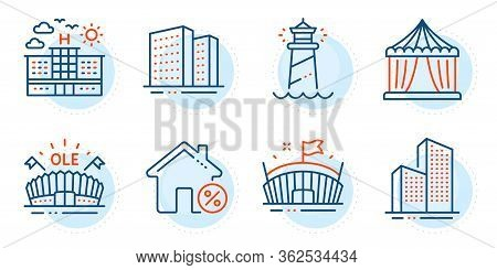 Skyscraper Buildings, Lighthouse And Hotel Signs. Buildings, Loan House And Sports Arena Line Icons