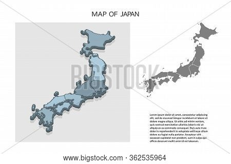 Isometric 3d Map Of Japan. Political Country Map In Perspective With Administrative Divisions And Po