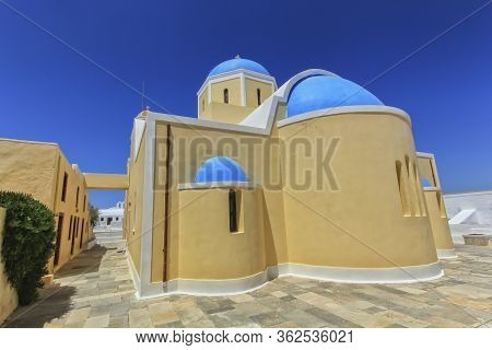 Colorful Church In Oia, Santorini By Beautiful Day, Greece
