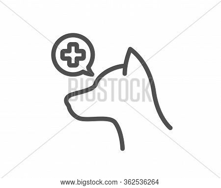 Veterinary Clinic Line Icon. Dog Care Sign. Pets Health Symbol. Quality Design Element. Editable Str