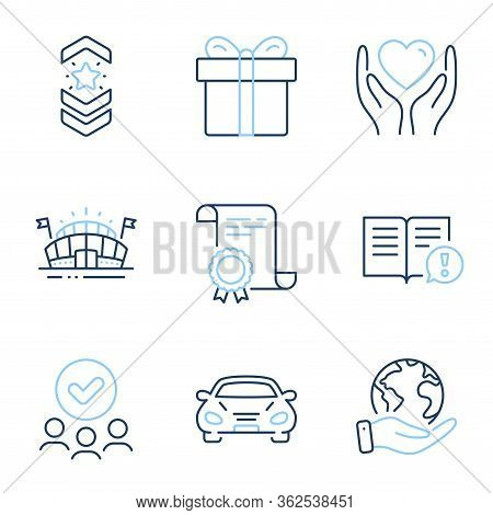 Car, Shoulder Strap And Gift Box Line Icons Set. Diploma Certificate, Save Planet, Group Of People.