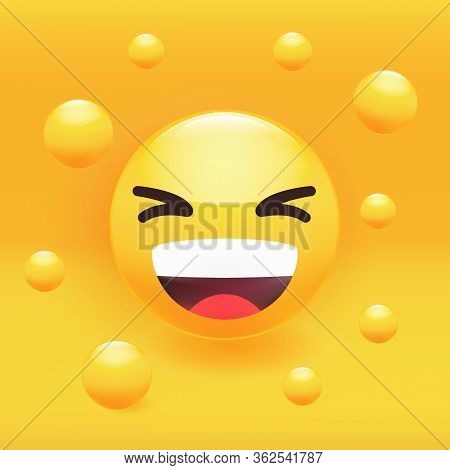 Funny Face Laughing Loudly, Smiling, Yellow Emoticon. Premium Vector Illustration.