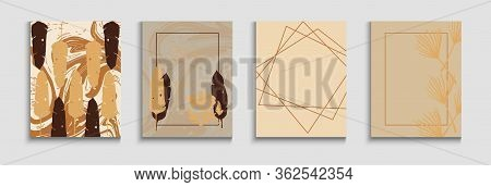 Abstract Trendy Vector Flyers Set. Hand Drawn Asian Background. Geometric Frame Pattern. Simple Mons