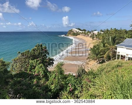 Scenic Beach Front View Of Curtain Bluff Resort In St. Mary's, Antigua, West Indies, Caribbean.