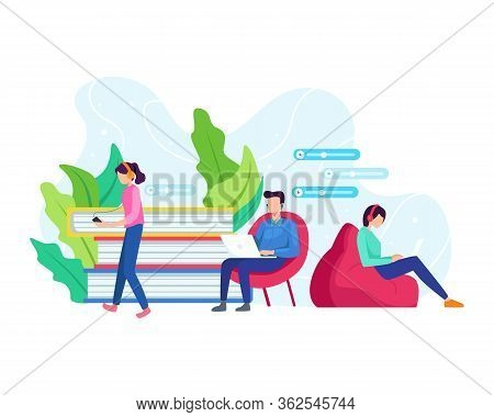 Podcast Concept Illustration. Men And Women With Earphones And Headphones Listening To Podcasts Or O