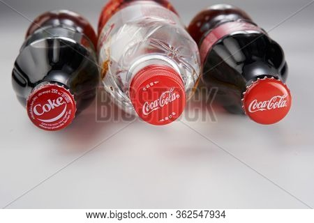 kuala lumpur, malaysia April 21, 2020 .Coca-Cola Classic and coca cola clear  bottle Isolated on white Background. Coca Cola is the most popular carbonated soft drink beverages sold around the world