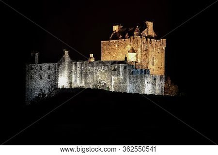 Castle At Night - Haunted Mystic Eilean Donan Castle In Scotland