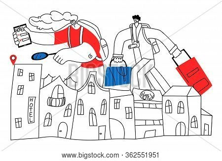 Vector Flat Illustration With Happy Tourists Who Are Looking For More Convenient Hotel Using App. Co