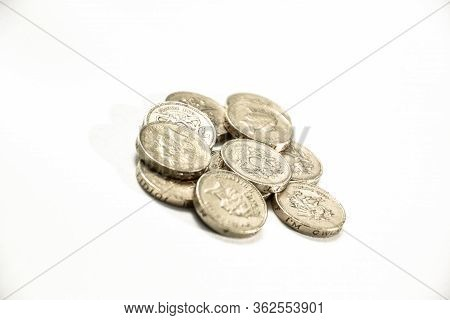 British One Pound Sterling Coin Isolated On White Background - Brexit Currency Uk Economy