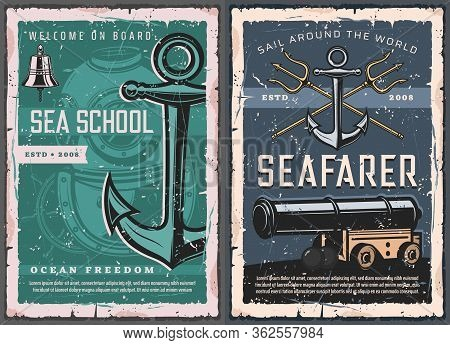 Nautical Marine Vintage Retro Vector Posters. Sea School Of Captains And Seafarers, Aqualung Diving