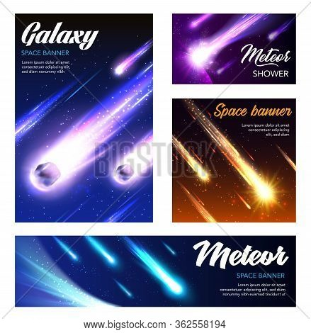 Galaxy Banners And Vector Posters, Meteorites And Asteroids Fall With Sparkling Neon Light In Outer