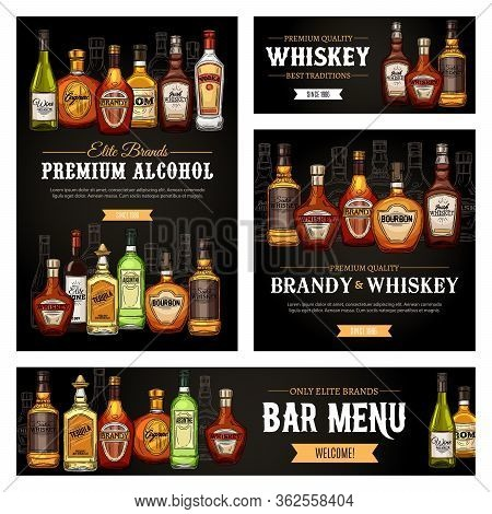 Bar Menu Vector Banners And Posters, Premium Quality Brand Alcohol Drink Bottles Sketch. Pub Whiskey