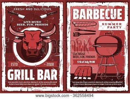 Barbecue Grill Party, Vector Vintage Grunge Poster. Cookout Bbq Picnic And Charcoal Grill Bar, Beef
