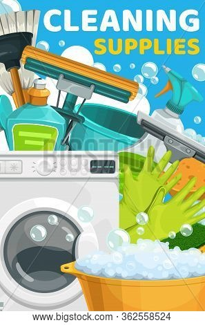 House Cleaning, Laundry And Home Washing Service Supplies, Vector Poster. Housework Cleaning Tools,